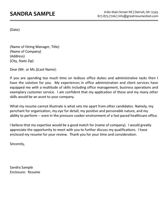 Administrative Assistant Cover Letter Example Cover Letter for Resume