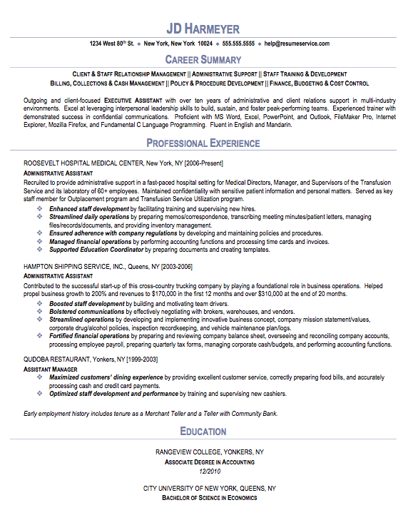 Administrative Assistant Sample Resume career summary