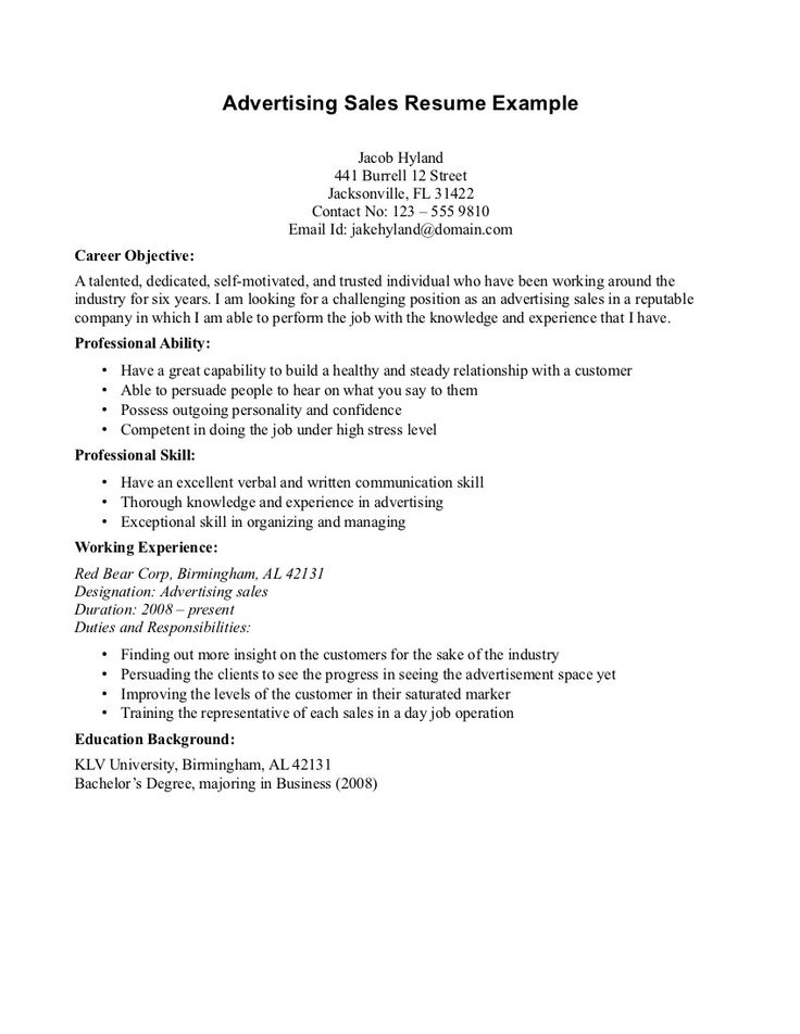 basic objective on a resume advertising resume objectives on pinterest - What Is Objective On A Resume