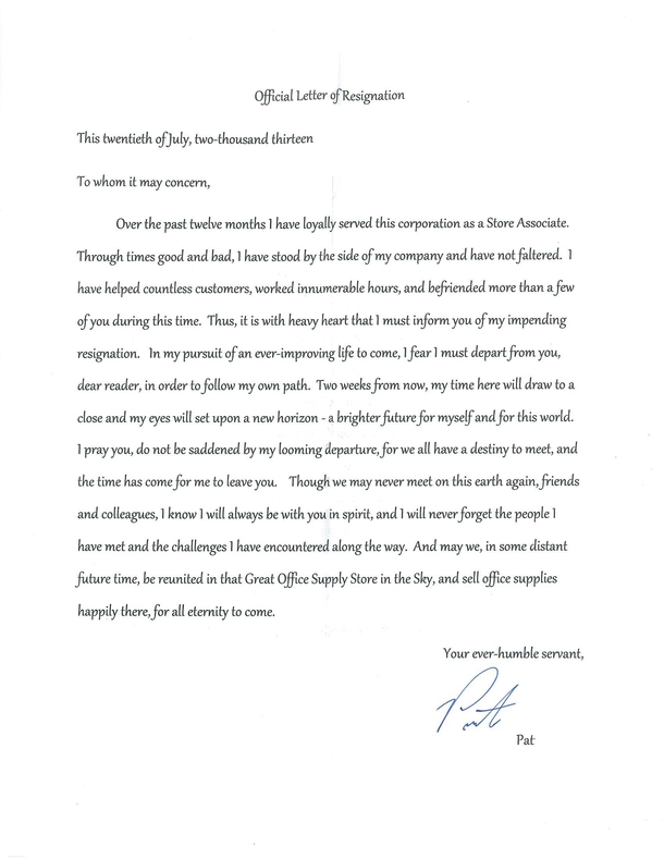 Resignation Letter Sample  Weeks Notice Derek Gordon