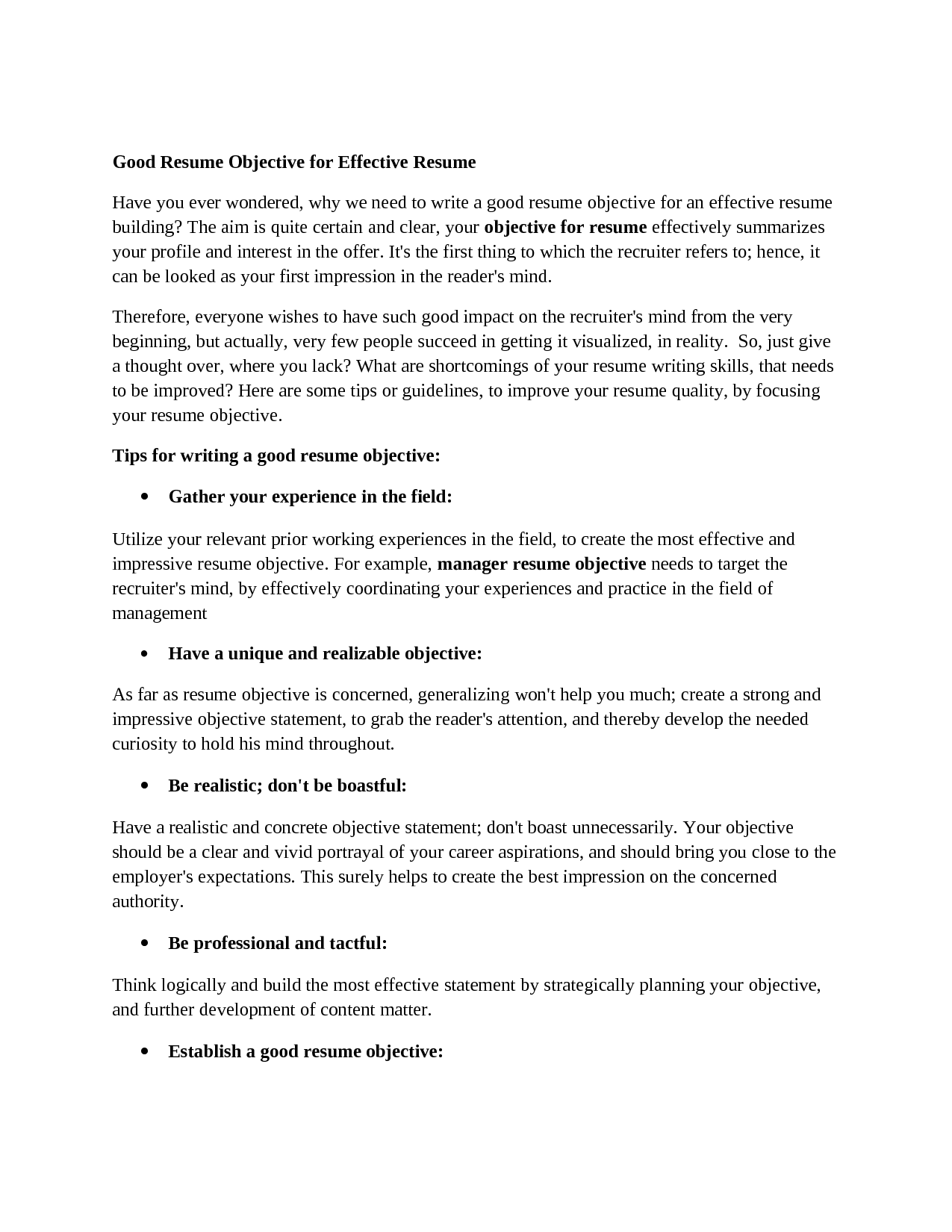 career objectives for resumes good resume objectives - Excellent Resume Objective Statements