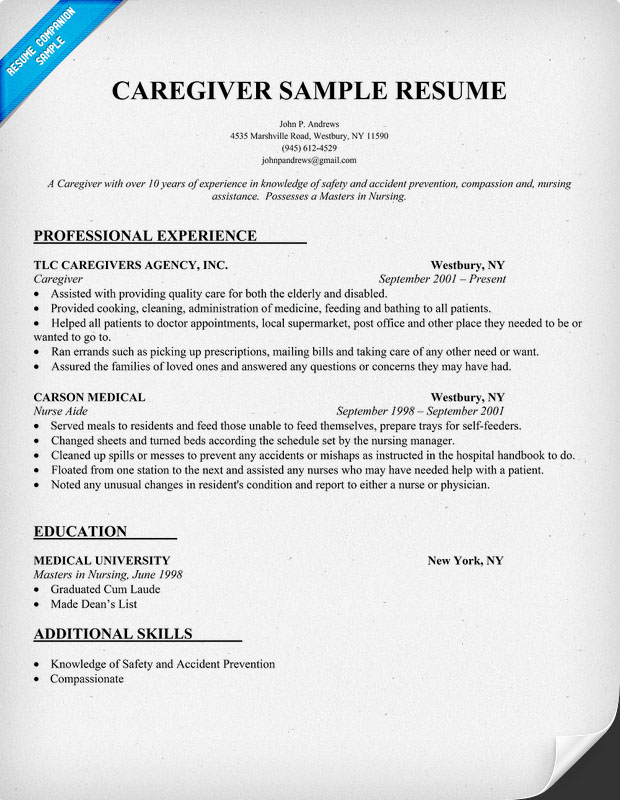 caregiver duties and responsibilities caregiver resume example
