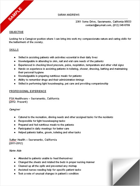 Caregiver Job Description for Resume caregiver resume sample