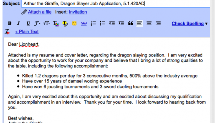 cv and cover letter via email