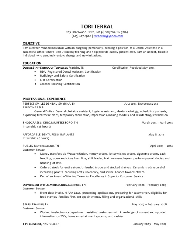 Dental Assistant Resume Examples Entry Level Tori Terral