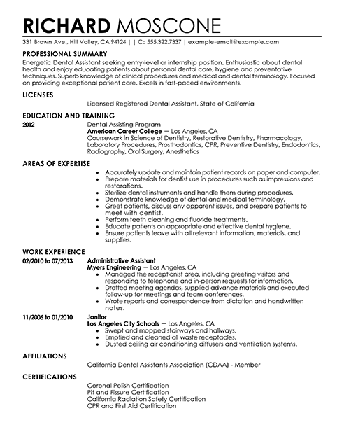 dental assistant skills resume for dental assistant