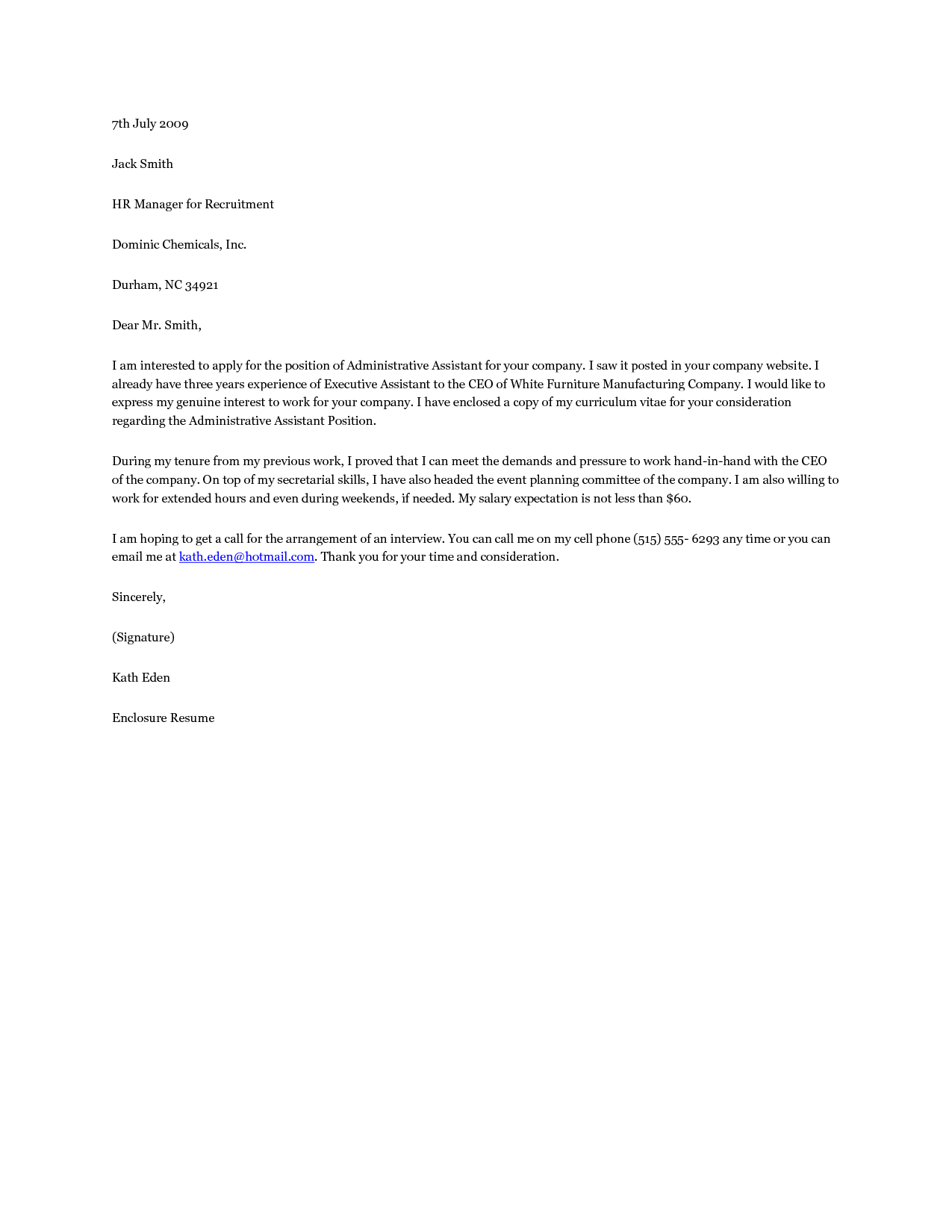 cover letter sample for administrative assistant