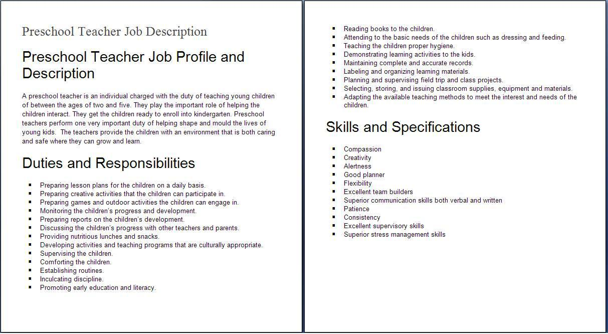 education job descriptions preshool teacher job profile and description
