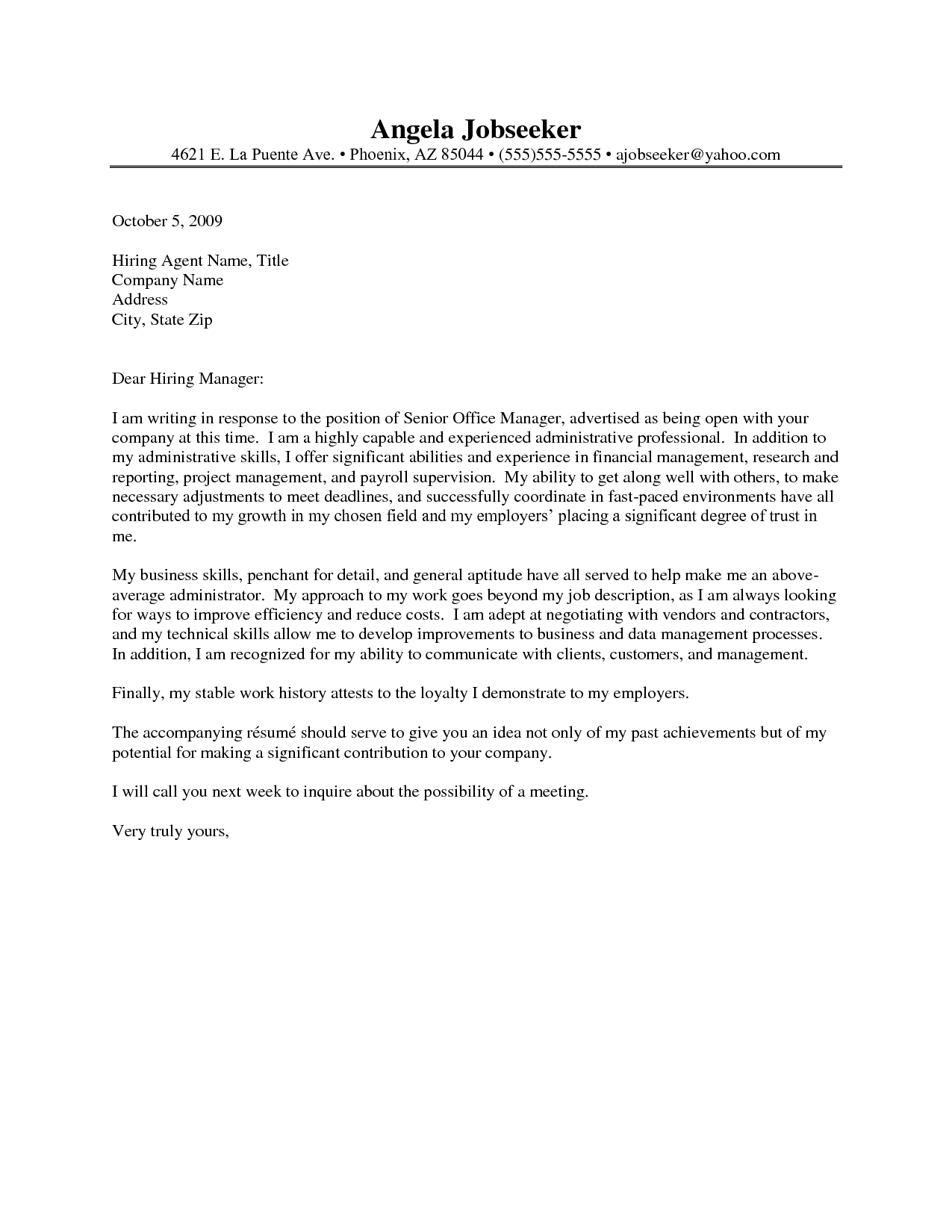 best cover letter for administrative assistant