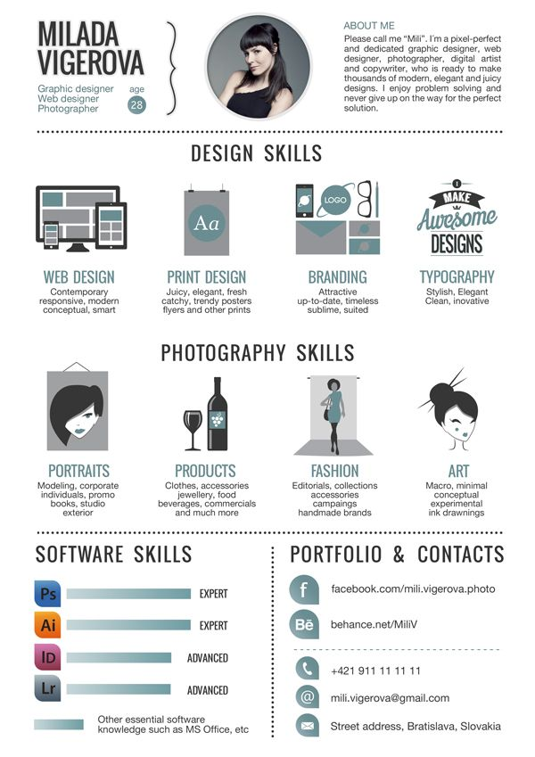 Examples Of Creative Graphic Design Resumes Design Skills