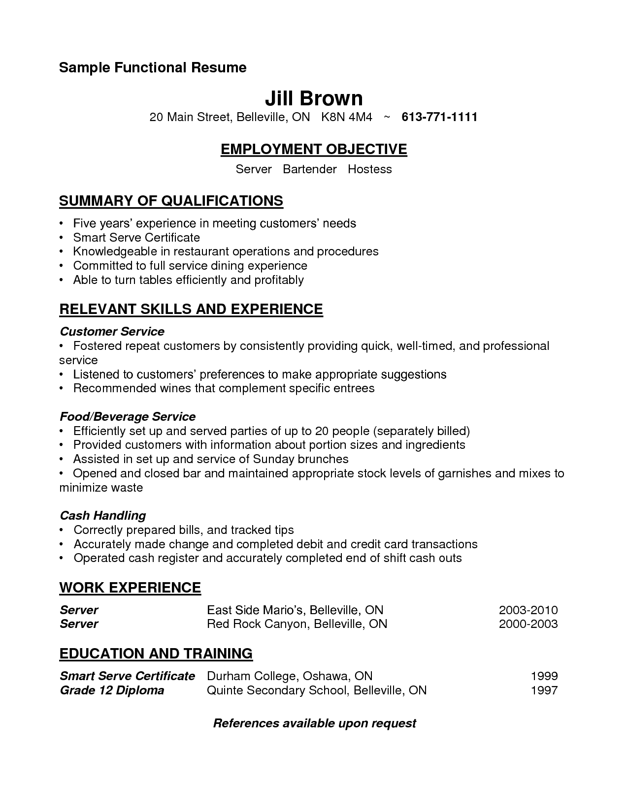 features information and sample resumes for bartenderas job profile cocktail waitress resume sample - Banquet Job Description