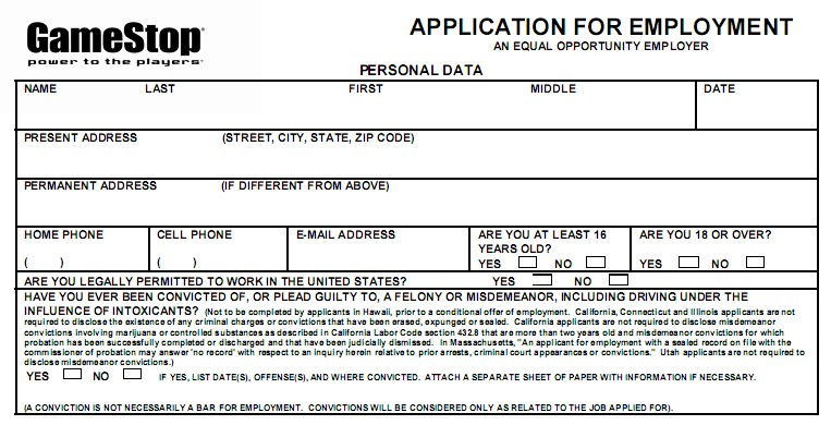 GameStop job application form application for employment personal data