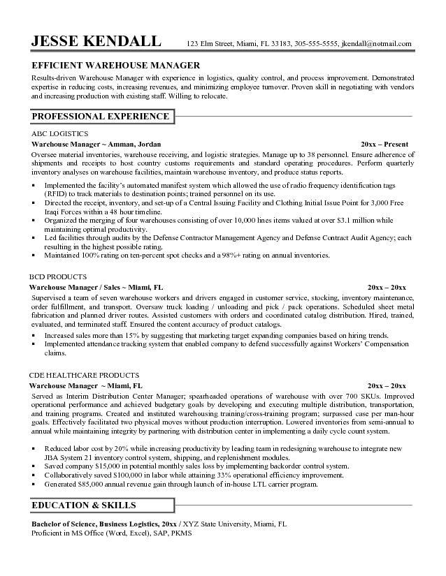 resume sample general warehouse skills microsoft word jk warehouse manager