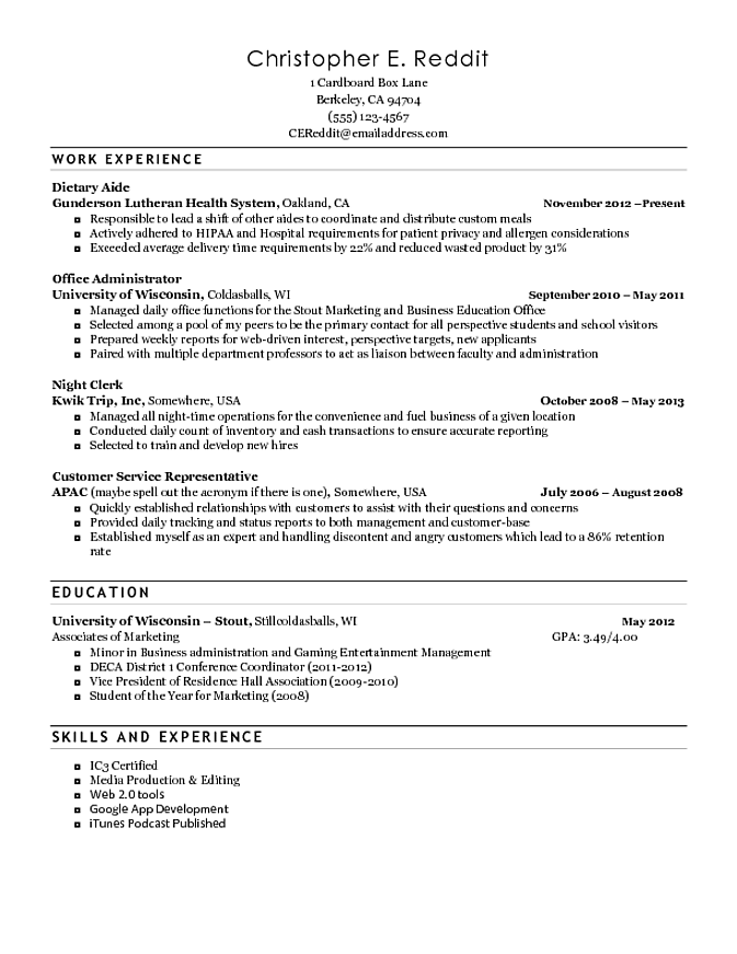 Home Health Aide Resume Dietary Aide Resume Objective