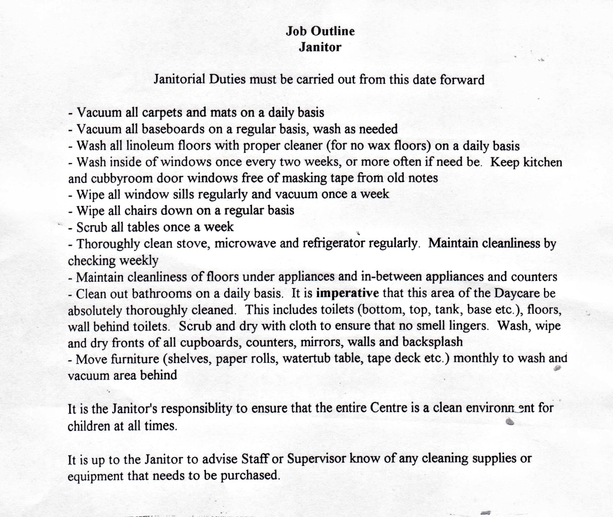 resume job description for janitor