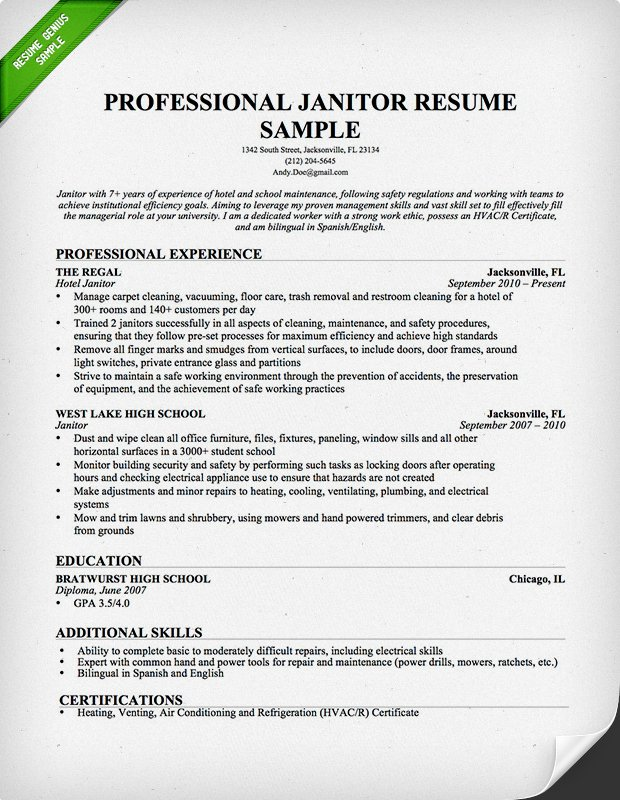 Janitor Resume Professional Sample Experience Job Description