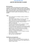 Janitor and Building Cleaner Job Description qualifications and requirements