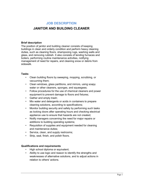 janitor and building cleaner job description qualifications and requirements - Window Cleaner Job Description
