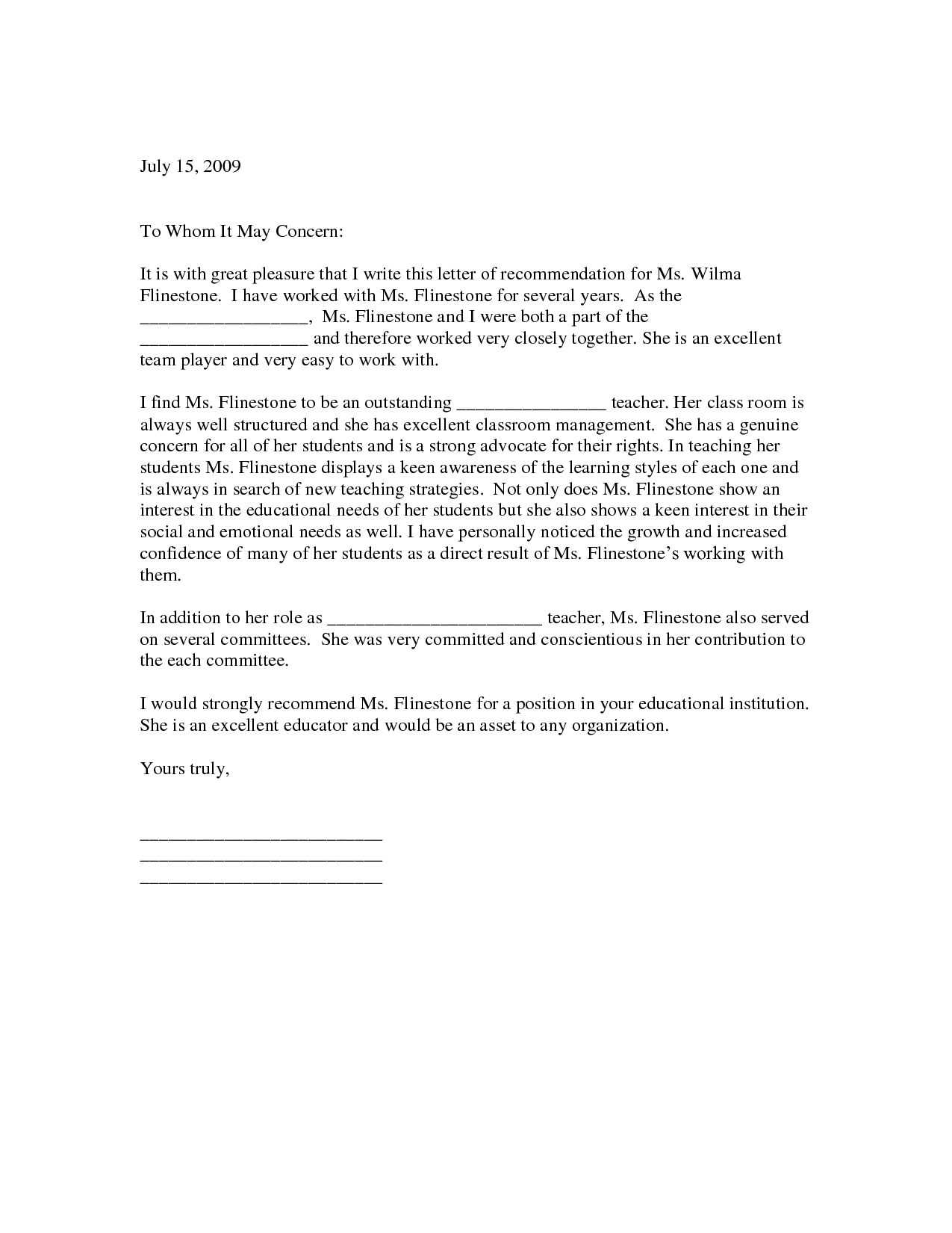 Letter of Recommendation for Teaching Position letter of ...