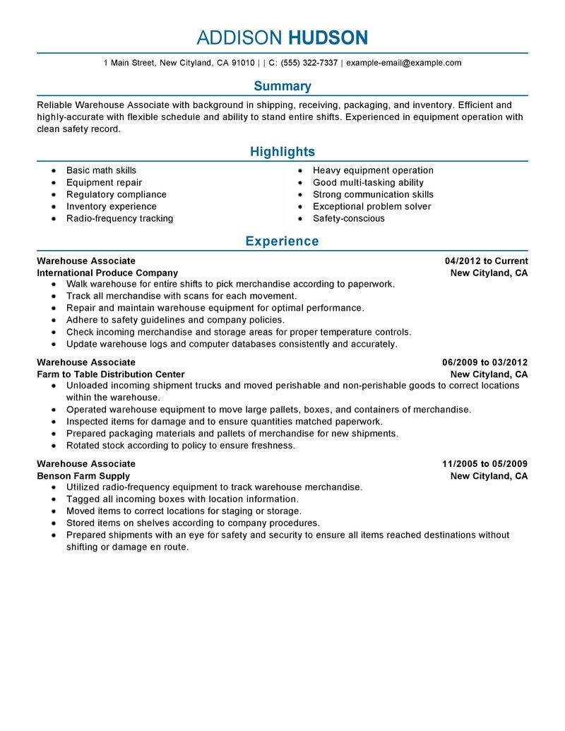 com page of business resume general warehouse worker resume sample