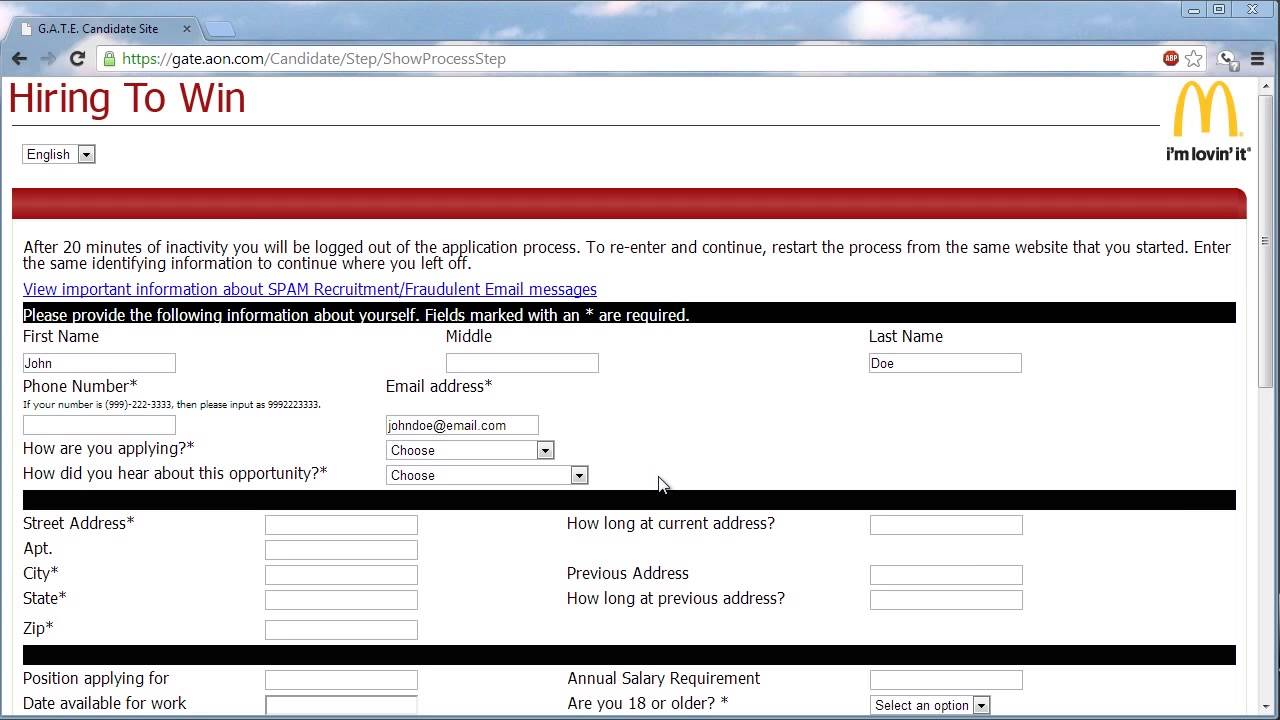 McDonalds Application Online Application at McDonald's Online