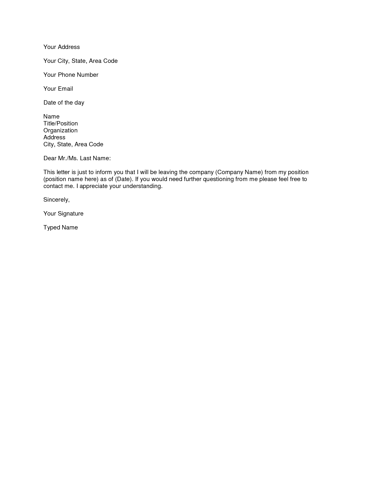 simple resignation letter format in word microsoft word resignation letter template simple 14685