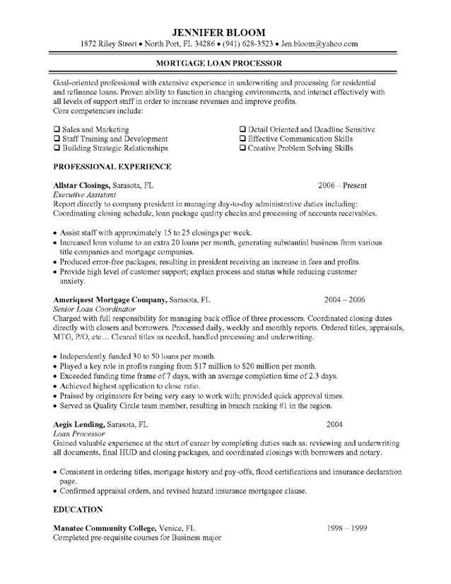 Mortgage Loan Processor Job Description resume objective examples