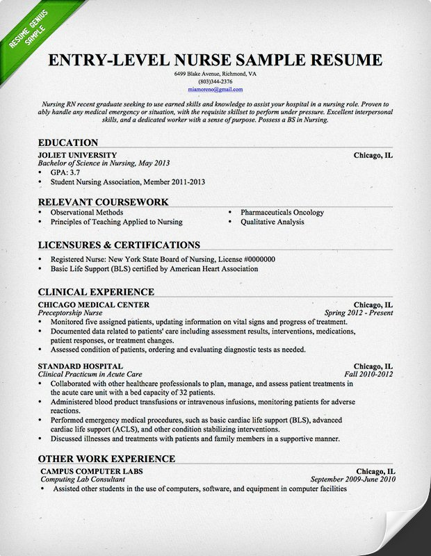 nursing resume template for experienced nurse nurse rn resume entry level - Sample Entry Level Resume Templates