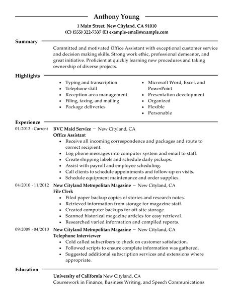 Office Assistant Resume Example Office Assistant Administration
