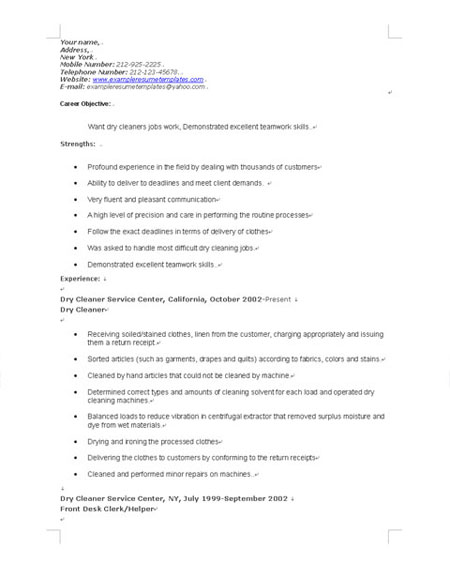 office job resume objective cleaning houses resume samples - Cleaner Sample Resume