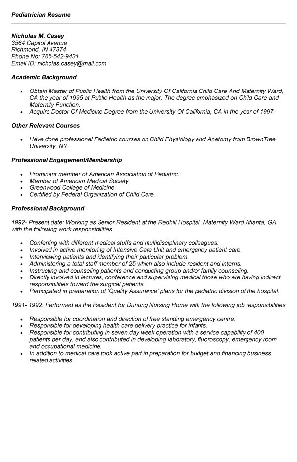 Pediatrician Resume Example for job application professional ...