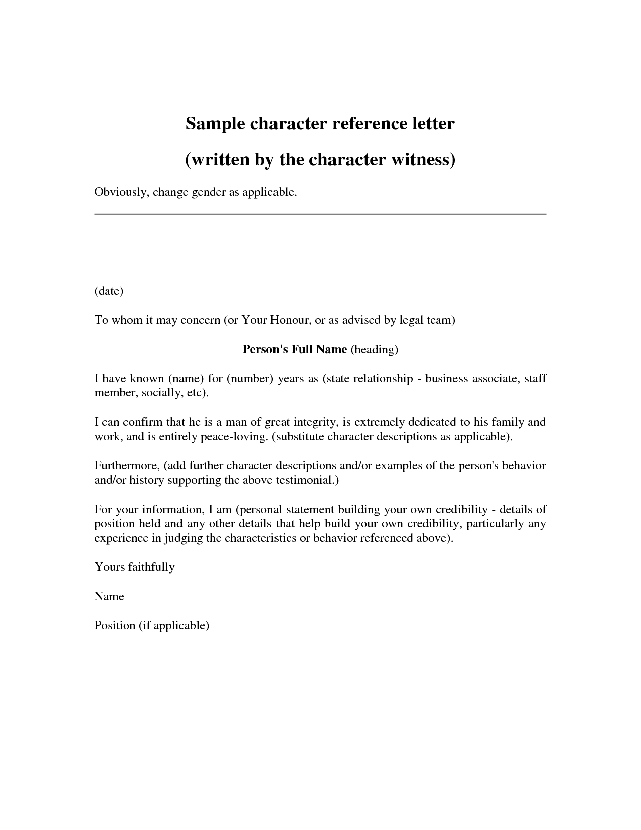 personal references letter sample