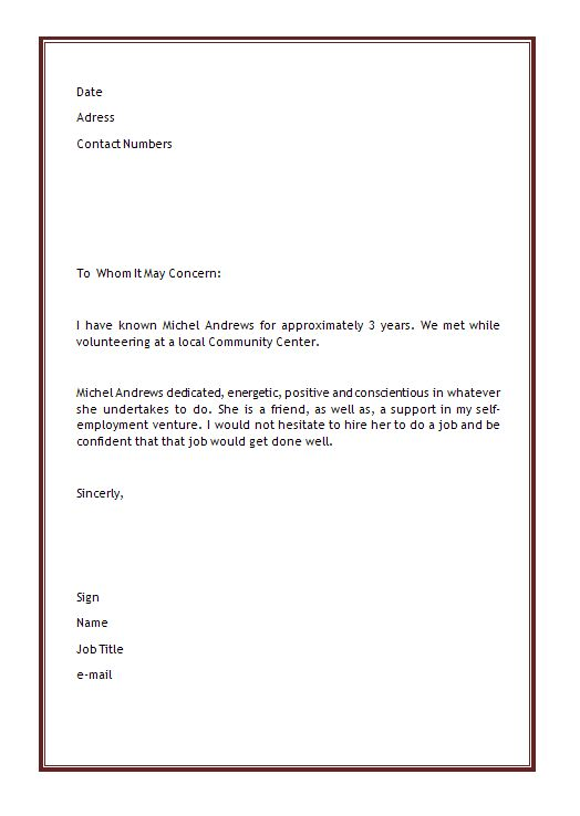 Personal Letter Of Recommendation Template - Samplebusinessresume