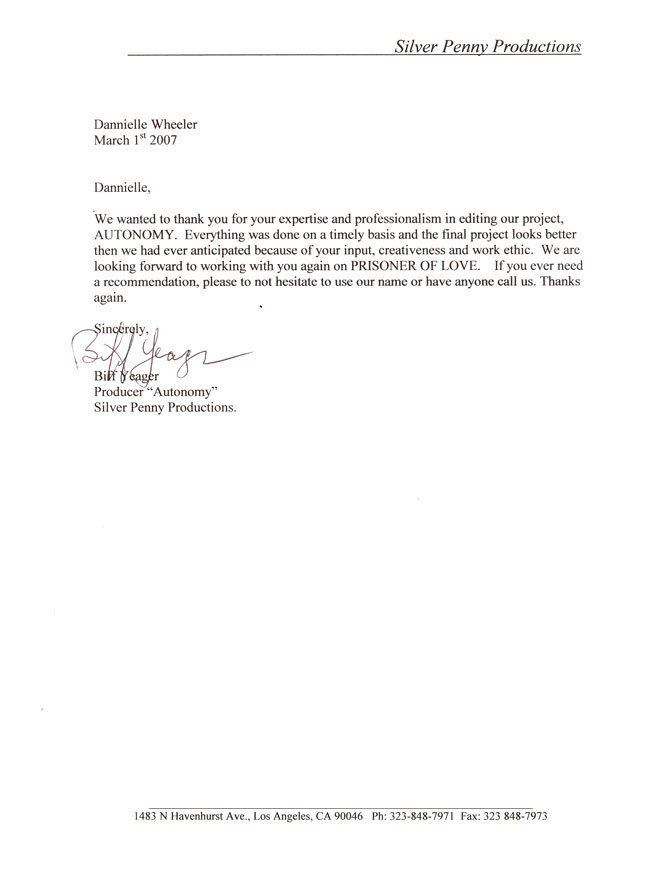 Personal Reference Letter Sample Productions View Reference Letter