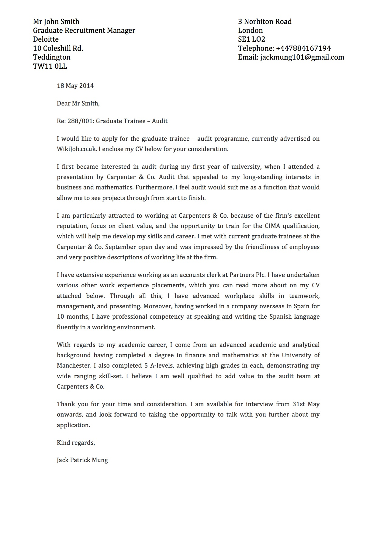 Professional Letter Template Cover Letter Template