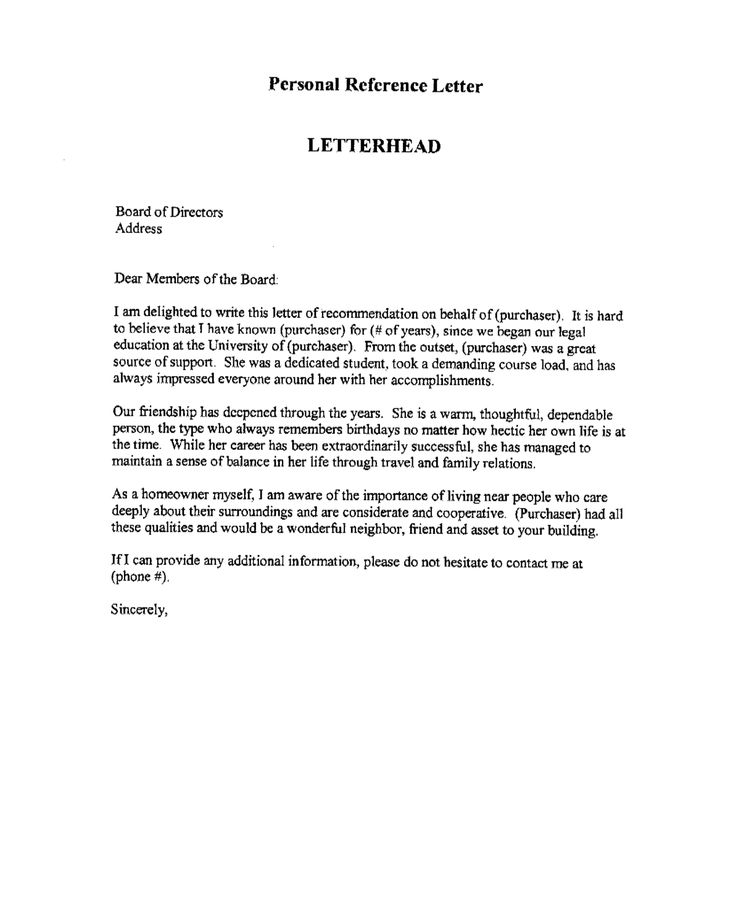 Professional References Sample Page Letter of recommendation on Pinterest