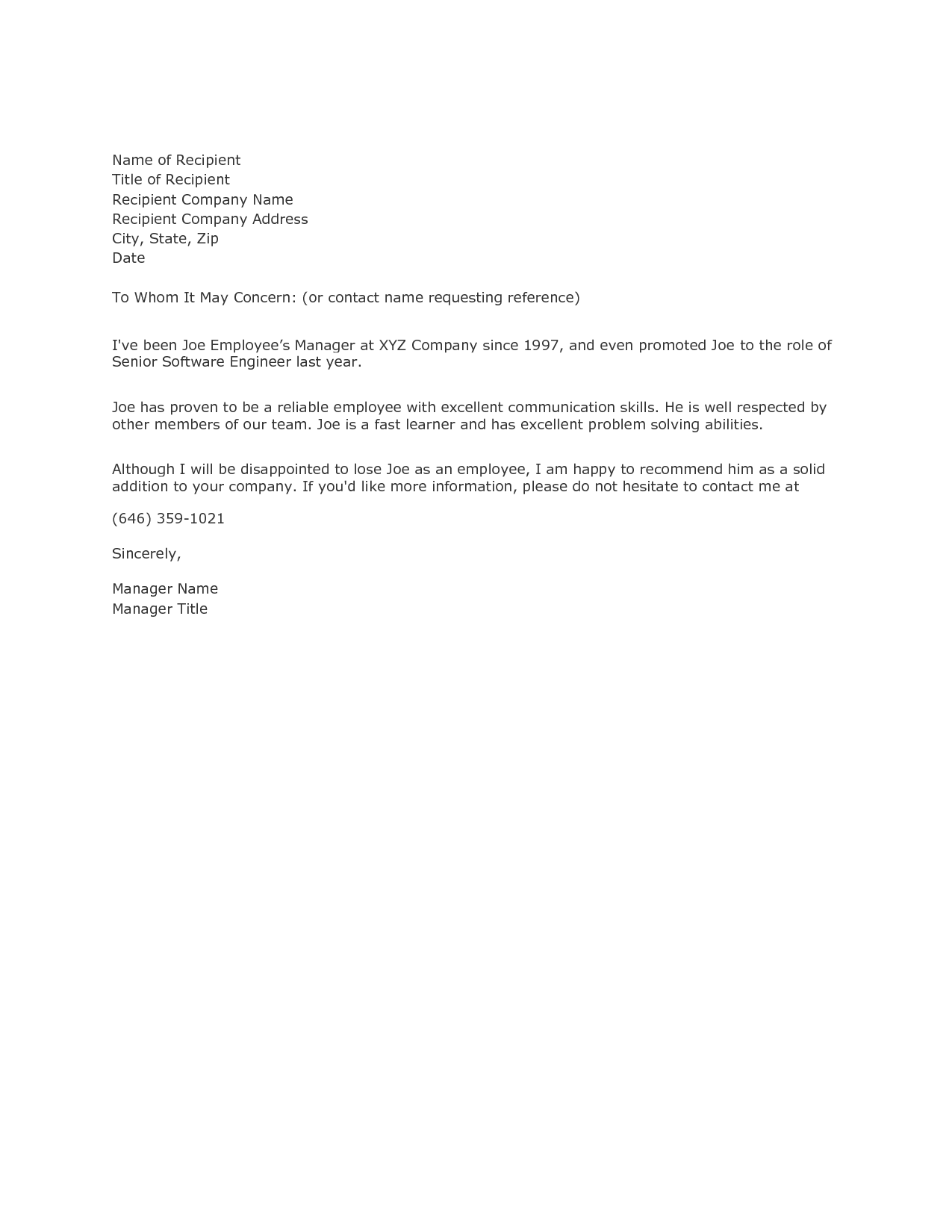 recommendation letter format writing a reference letter example samplebusinessresume 15144