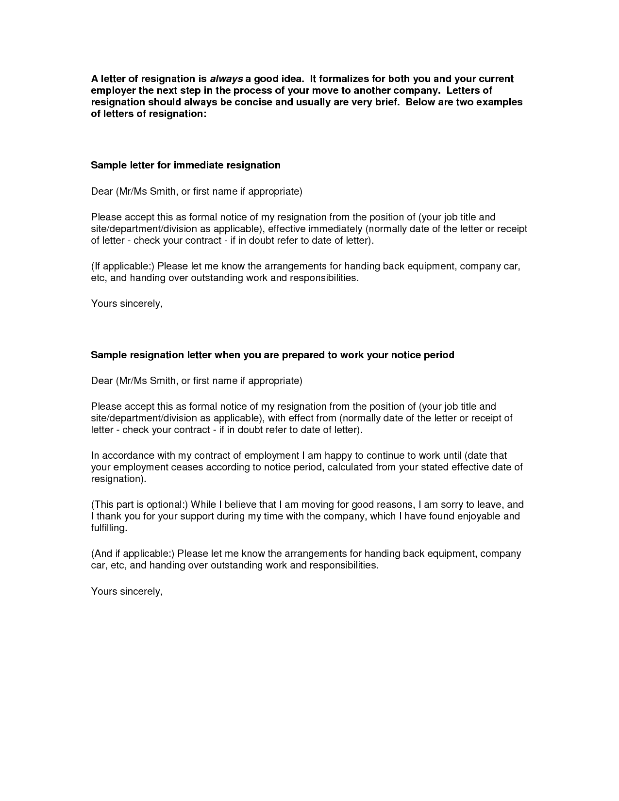 letter of resignation examples the best resignation letter sample samplebusinessresume 630