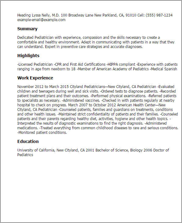 Resume Templates Pediatrician highlights work experience