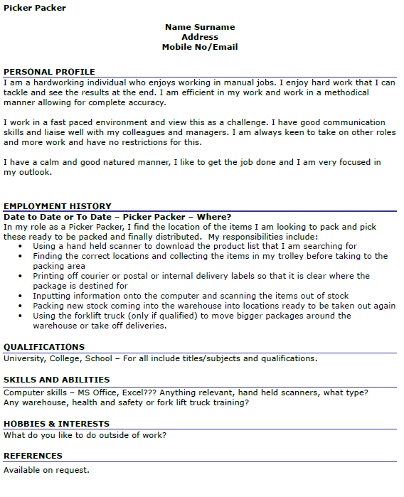 Resume For Packer Position Picker Packer Cv Example