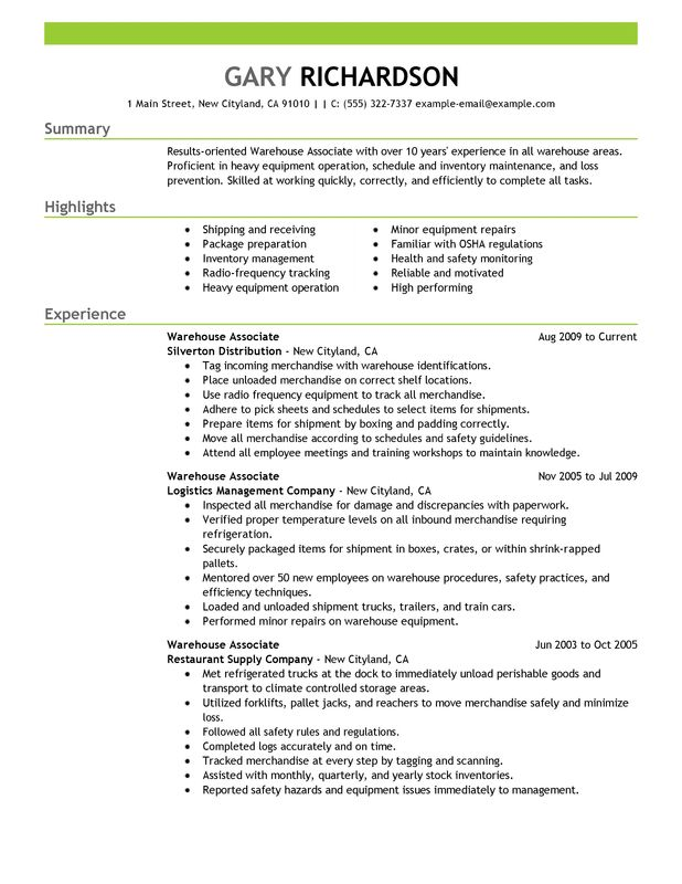 resume for warehouse jobs warehouse associate maintenance
