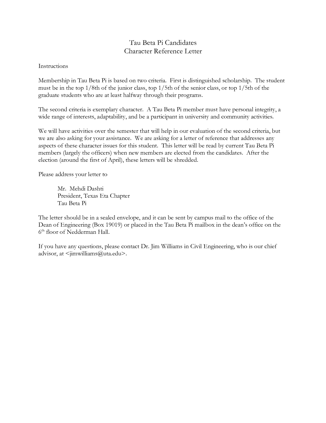 Sample Character Reference Letter Examples of Good Character Statements