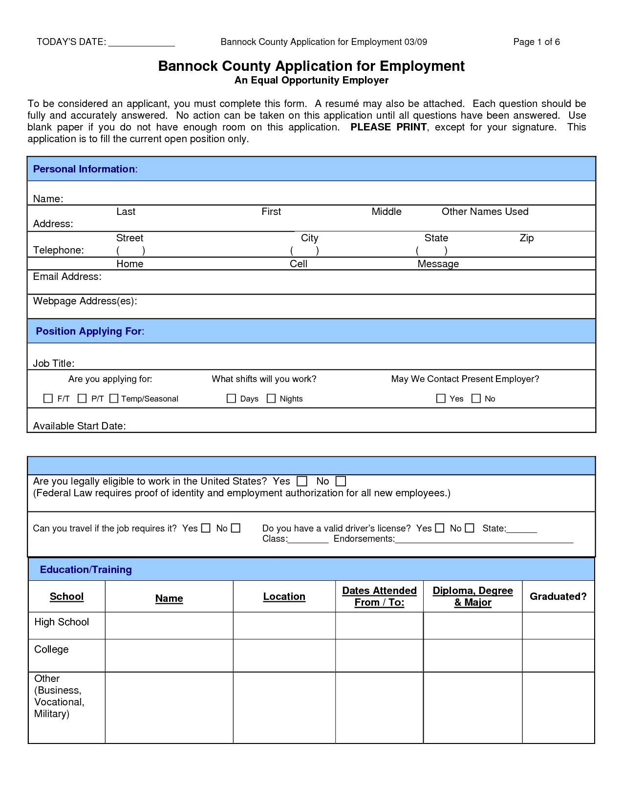 Superieur Sample Job Application Form PDF Bannock Country Application For Employment