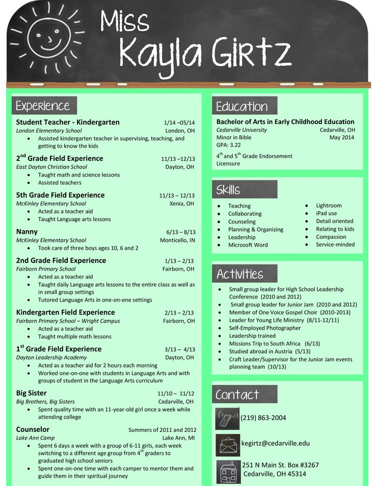 Sample Resumes for Teachers My design for an elementary teacher ...