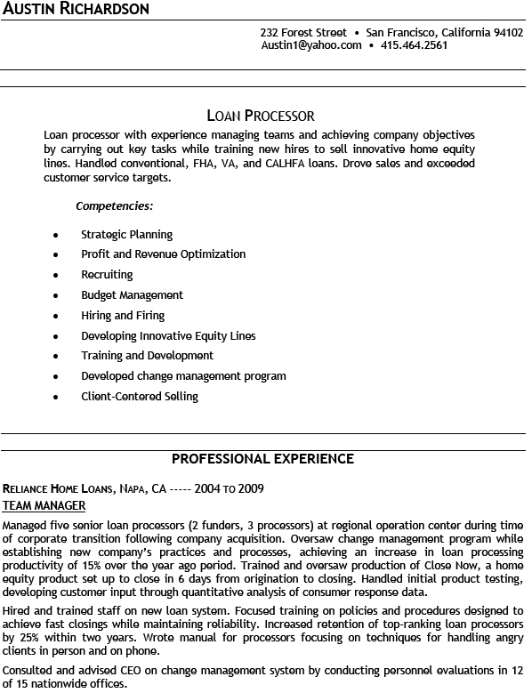 Sample Of Loan Processor Resume For Job Application