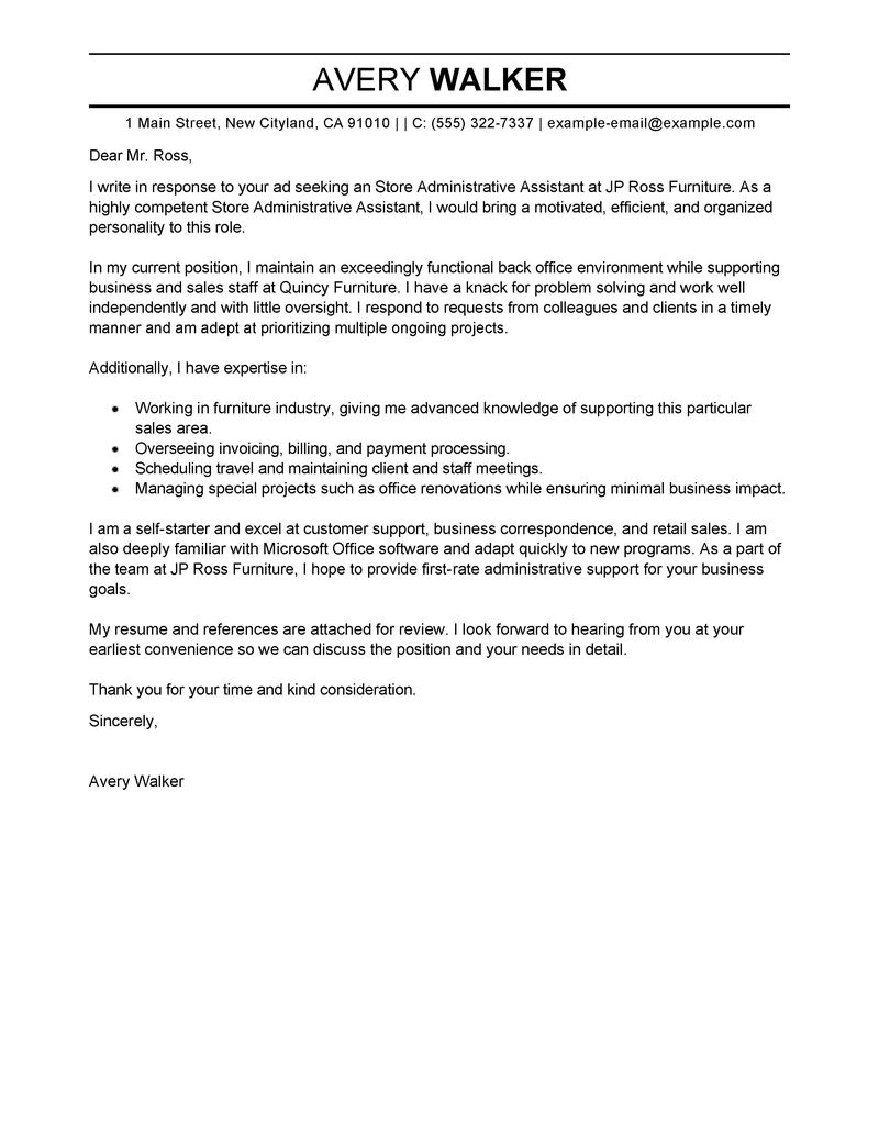 Cover Letter Example For Administrative Assistant Position