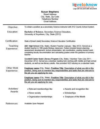 Teacher Resume Examples Resume Example For A New Teacher