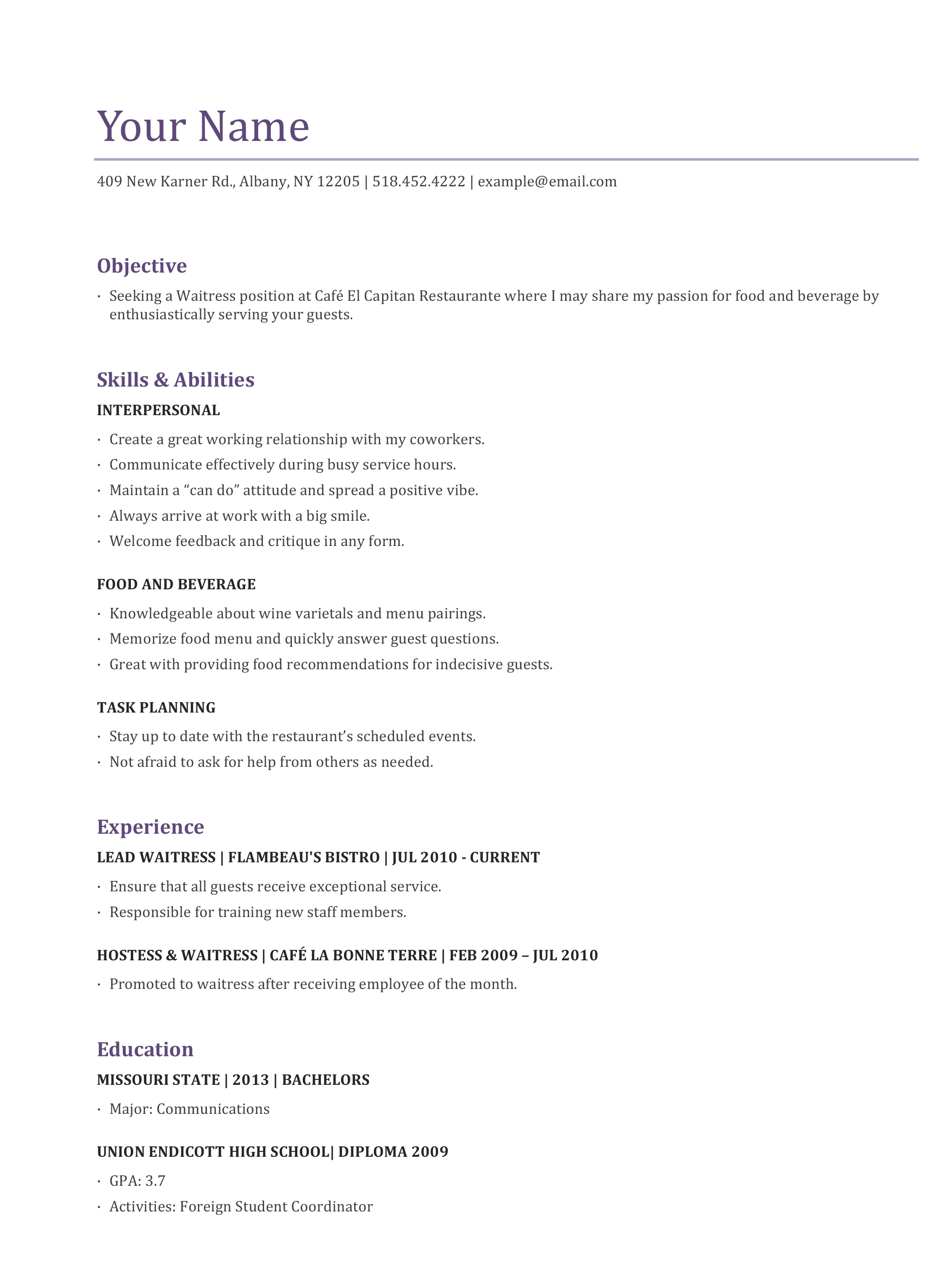 Waitress Resume Template Examples Cocktail Waitress Resume Sample Objective  ...  Example Of Objective For Resume