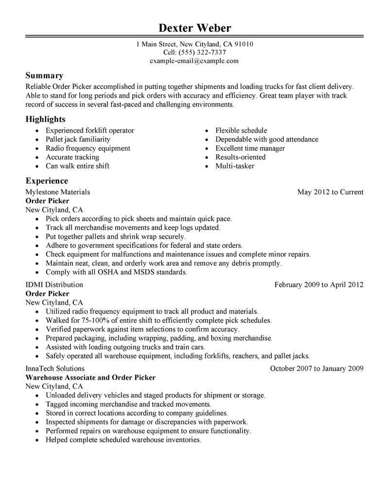 Warehouse Packer Job Description For Resume