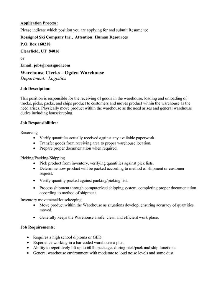 warehouse picker resume sample picker packer resume